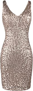 Women's Vintage Sequin Party Dress V Neck Bodycon Glitter Mini Cocktail Dress Vegas Clubwear