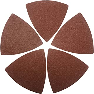 XXGO 60 Pcs 120 Grits Triangular 3-1/8 Inch 80mm Hook & Loop Oscillating Tool Sandpaper for Wood Sanding Fit 3-1/8 Inch Triangle Oscillating Multi Tool Sanding Pad XG8020120