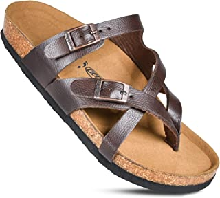 Memory Foam Cork Footbed Slides for Women Sandals with +Comfort & Arch Support