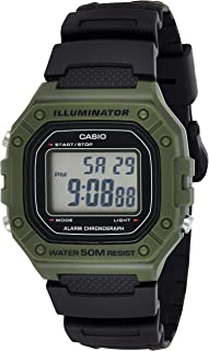 Casio Men's 'Classic' Quartz Stainless Steel and Resin Watch, Color:Black (Model: W-218H-3AVCF)