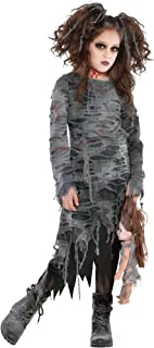 Suit Yourself Undead Walker Zombie Halloween Costume for Girls, Includes Dress and Ponytail Holders