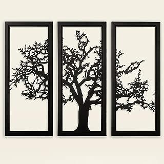 MyGift 3-Piece Black Metal Tree of Life Wall Art, Modern Living Room Decor