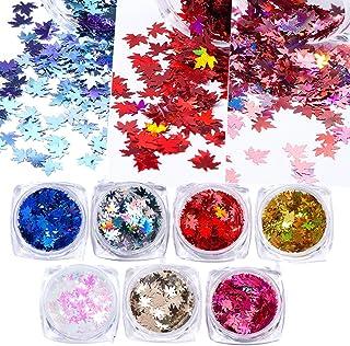Style Multicolor 7Boxes Autumn Leaf Shape Nail Art Sequins Gold Maple Leaves Flakes Paillettes Designs Manicure Women Nail...