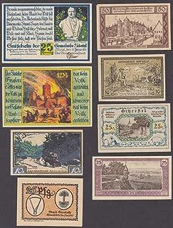 Eight 10-25-50-75 pfennig German bank notes 1921 lot #3