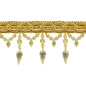 8633 D/ÉCOPRO Two Tone Gold Baroque COLL Sold by The Yard 3 inch Beaded Fringe Style# B78B Color: Gold Medley