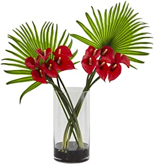 Nearly Natural Calla Lily and Fan Palm Artificial Arrangement in Cylinder Glass Vase, Red