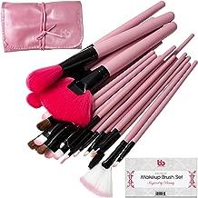 Professional Cosmetic Makeup Brushes Set - Beauty Make Up Face Kit Eyeshadow Foundation Eyeliner Bronzer Concealer Contour Brush for Blending Powder & Cream With Organizer Holder Case 24 Piece Pink