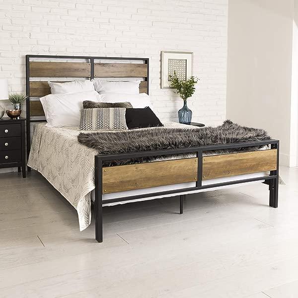WE Furniture Queen Bed Rustic Oak
