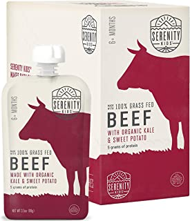 Serenity Kids Baby Food, Grass Fed Beef with Organic Kale and Sweet Potatoes, For 6+ Months, 3.5 Ounce Pouch (6 Pack)