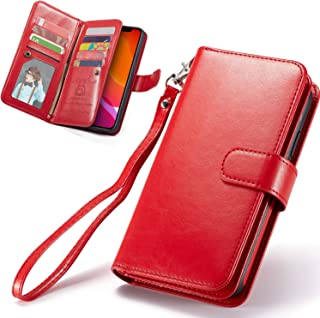iPhone 11 Case, XRPow [2 in 1] iPhone 11 Magnetic Detachable Wallet Case [PU Leather] Folio Flip [9 Card Slot] [Wrist Stra...