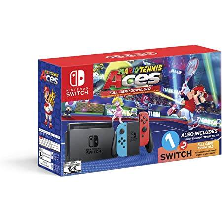Nintendo Switch System Consola, azul neón y rojo neón con Mario Tennis Aces & 1-2-Switch (Enewed)