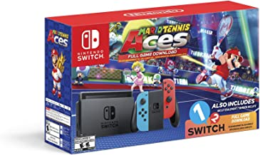 Nintendo Switch System Console , Neon Blue & Neon Red with Mario Tennis Aces & 1-2-Switch (Renewed)