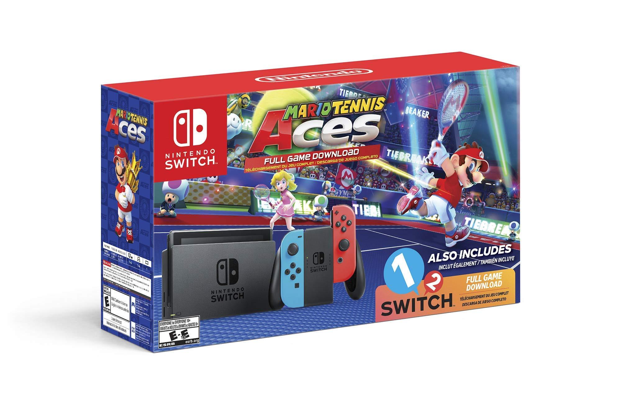Nintendo Switch System Consola, azul neón y rojo neón con Mario Tennis Aces & 1-2-Switch (Enewed): Amazon.es: Electrónica