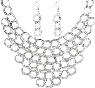 Isaloe Women Choker Necklace Statement Crochet Bib Necklace Earring Sets
