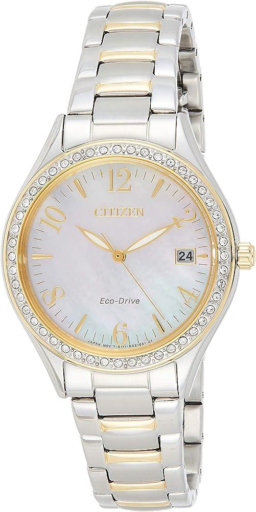 orologio analogico citizen da donna con cinturino in acciaio inox con cristalli swarovski. eo1184-81d