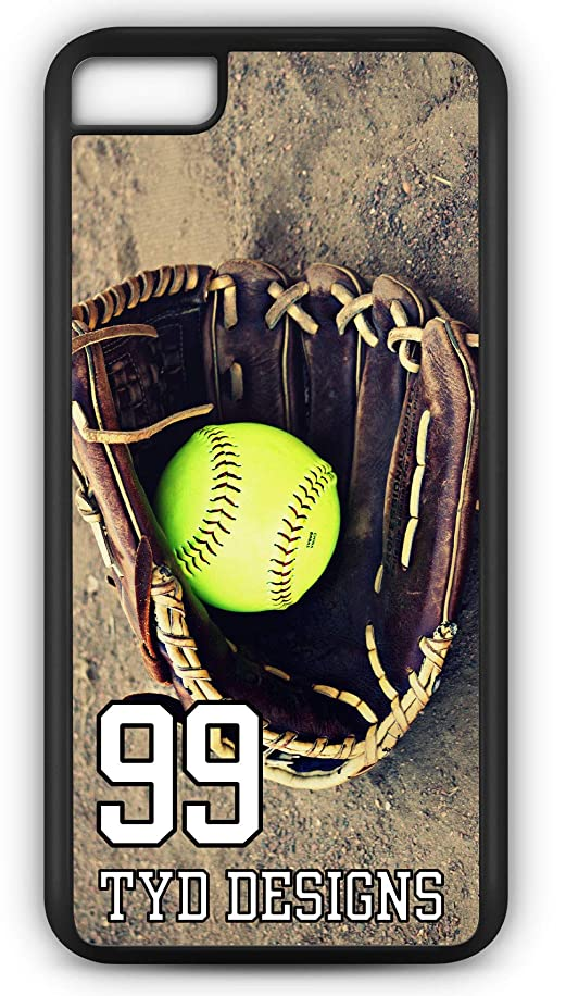 iPhone 7 Plus 7+ Case Create Your Own Softball Slow Pitch Player Number Name Team Name Customizable TYD Designs in Black Rubber