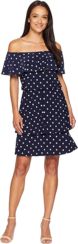 LAUREN Ralph Lauren R4 Classic Dot Lorelei Short Sleeve Day Dress