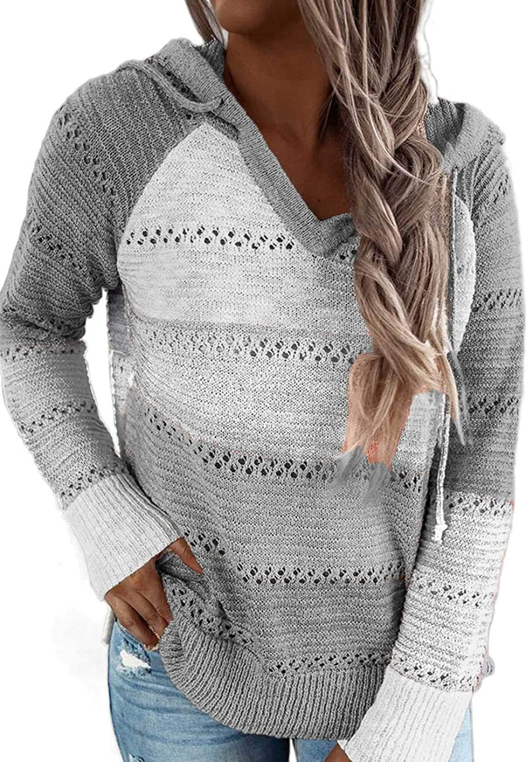 Credence Max 71% OFF Biucly Women's Lightweight Color Block Sweaters Hoodies Knit Loo