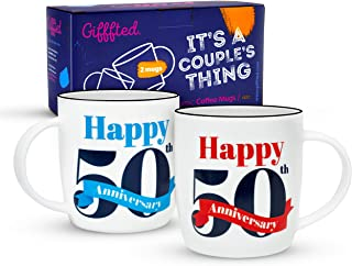 Gifffted 50th Golden Wedding Anniversary Coffee Mugs For Couple, Funny Happy Gifts For Grandma and Grandpa, Grandparent Mug, Grandparents Gift, Birthday, Valentines Day, Couples Cups, 13 Oz, Set of 2