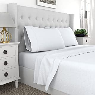 Purity Home 300 Thread Count Organic 100% Cotton Percale 4 Piece White King Size Sheets Set, Brushed for Softness, Cool Cr...