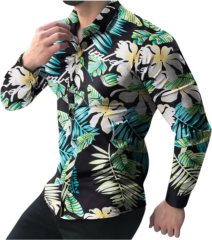Men's Slim fit Floral Printed Beach Hawaiian Button-Down Dress Shirt Casual Trun Down Long Sleeve Blouse Tops