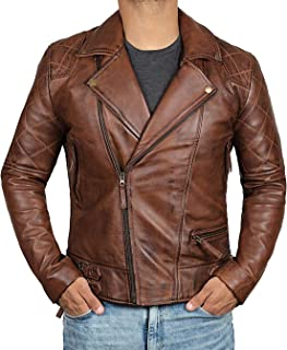Brown Leather Jacket Mens - Cafe Racer Real Lambskin Leather Distressed Motorcycle Jacket