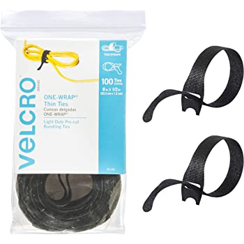 "VELCRO Brand ONE-WRAP Cable Ties | 100Pk | 8 x 1/2"" Black Cord Organization Straps 
