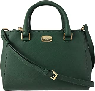 Kellen XS Saffiano Leather Satchel Bag in Moss Green