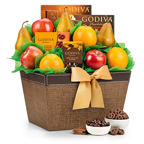 GiftTree Fresh Fruit and Godiva Chocolate Gift Basket | Includes Gourmet Chocolates and Confections from Godiva