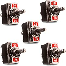 MGI SpeedWare Metal Toggle Switches 20 Amp at 12vDC, 125vAC (5 Pack) DPDT 6-Pin ON-OFF-ON
