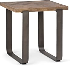 Simpli Home AXCPYT-02 Peyton Solid Aged Elm Wood and Metal 20 inch Wide Square Modern Industrial End Side Table in Distressed Java Brown Wood Inlay