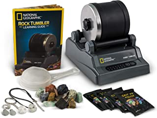NATIONAL GEOGRAPHIC Hobby Rock Tumbler Kit - Rough Gemstones, 4 Polishing Grits, Jewellery Fastenings, Great STEM Science ...