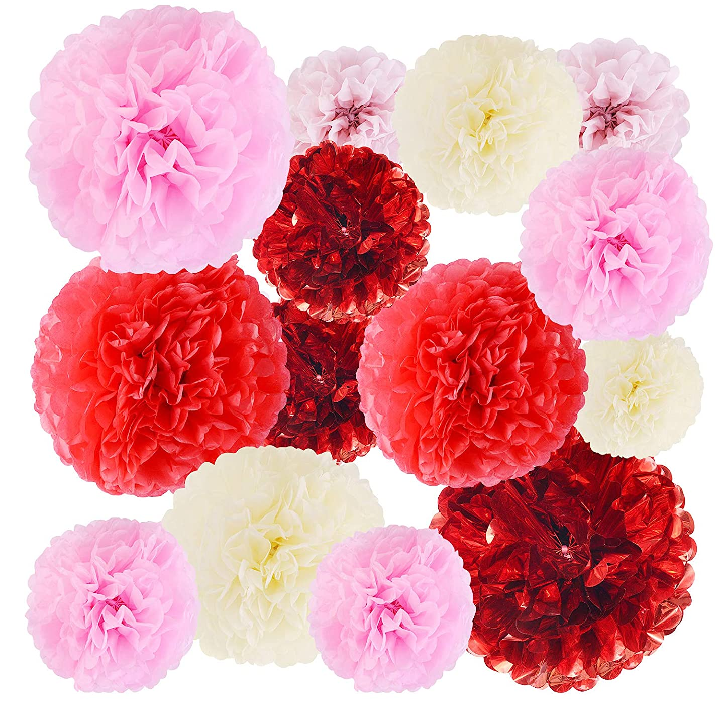 "EKKONG 20pcs Paper Pom Poms, Party Decorations, Red Foil, Paper Flowers - Baby Shower - Birthday Party - Wedding - Bridal Shower - Outdoor Party Decoration - 6"", 8"", 10"", 12"" (20pcs)"