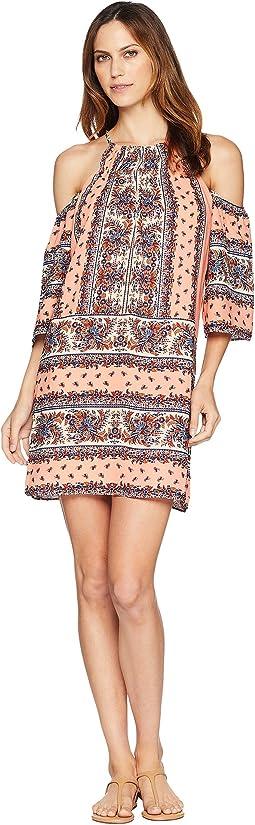 Patterned Cold Shoulder Dress
