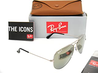 Authentic Ray-Ban Aviator RB 3025 003/59 58mm Silver / Silver Mirror Polarized