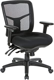 Office Star ProGrid Mid Back Managers Chair with Adjustable Arms, Multi-Function and Seat Slider (Black)