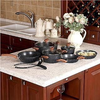 Kitchen Academy 12 delar nonstick granitbelagt köksredskapsset, svart – bakelithandtag med träeffekt (mjuk känsla)