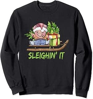 Sleighin It Christmas Sleighing Illustration Sweatshirt