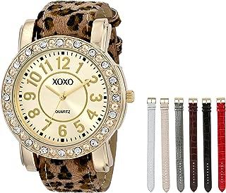 Women's XO9065 Analog Display Analog Quartz Gold-Tone Watch with Interchangeable Straps