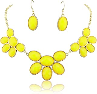 Firstmeet Shiny Contrast Color bib Necklace with Earrings