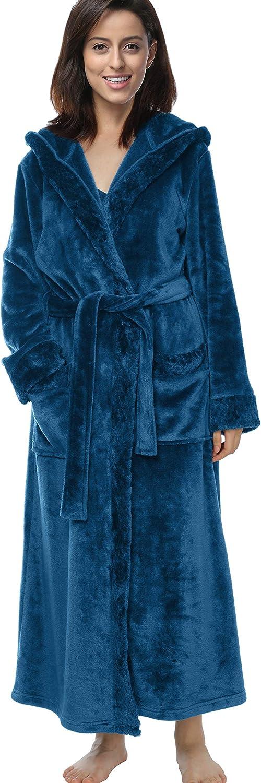 TIANNBU Damen Bademantel mit Kapuze Lounge Morgenmantel mit Reißverschluss Kimono mit Zopfmuster A-indigoblau