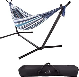 Pure Garden 50-LG1178 Double Brazilian Hammock with Stand– Woven Cotton, 2-Person Outdoor Swing with Frame for Camping, Backyard or Patio (Blue Stripes)