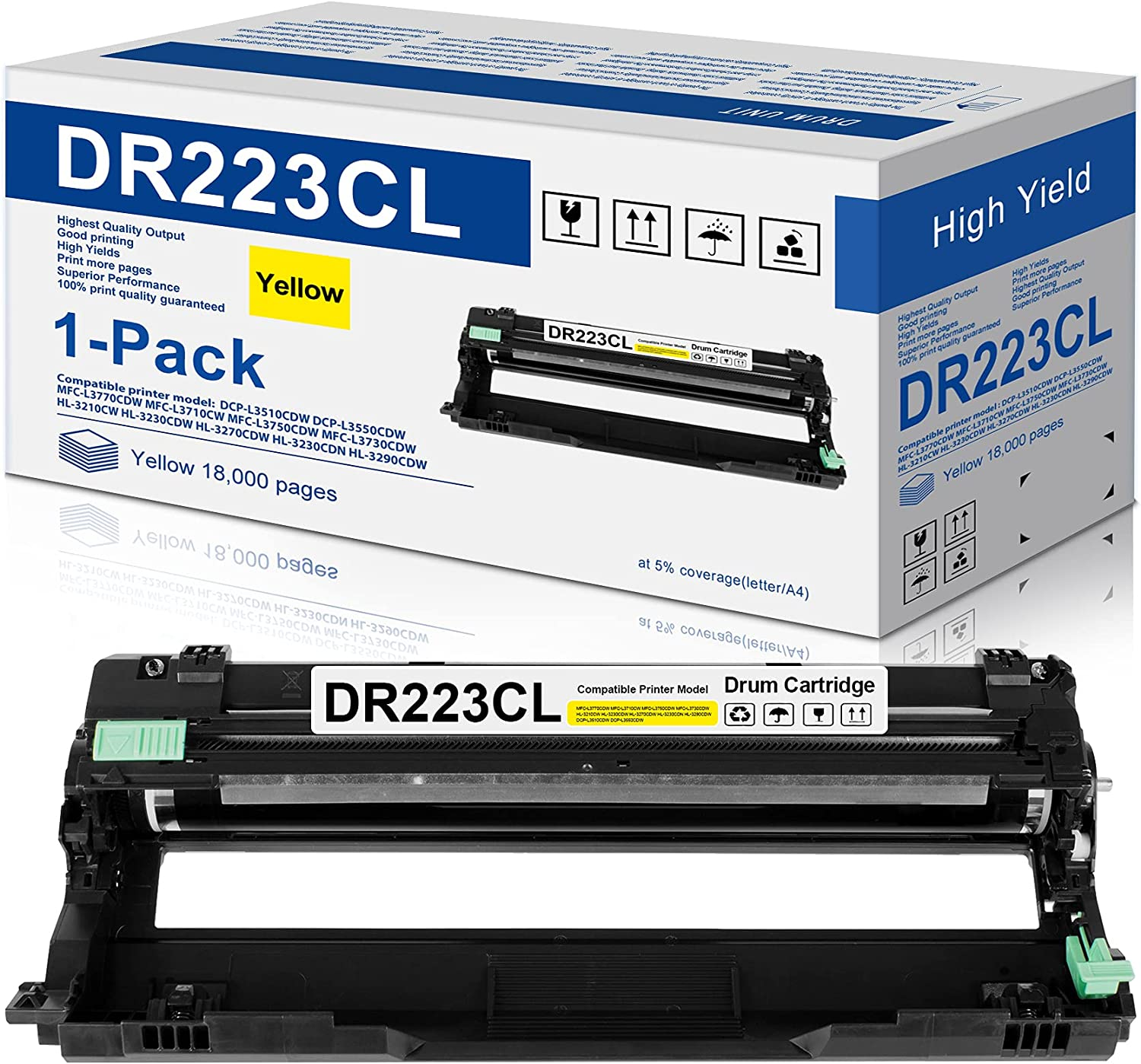 1-Pack Yellow Compatible DR223CL Drum Unit Replacement for Brother DR-223CL Drum Works with Brother MFC-l3770CDW MFC-l3750CDW MFC-l3710CW HL-l3290CDW HL-l3270CDW HL-l3210CDW HL-L3230CDW Printer