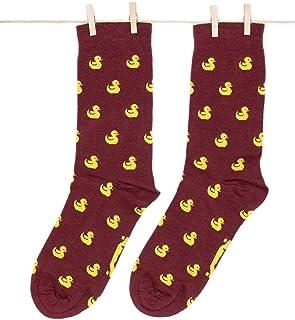Roits, Duckies Burdeos - Calcetines Originales Patitos Hombre y Mujer
