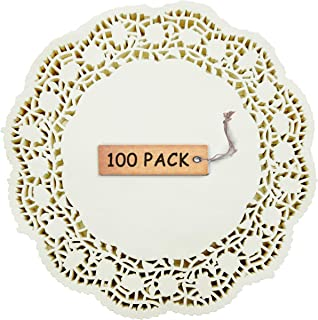 SCHOLMART Floral Beige Off White Paper Doilies for a Tea Party, Birthday or Baking, Embossed Pattern 6.5