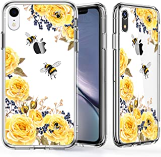 KINFUTON iPhone XR Cases,iPhone Xr Clear Case for Women Girls Soft Silicone Rubber TPU Plastic Cover Slim Fit Protective Phone Case for iPhone Xr 5.8 inch Cute Bee Flowers
