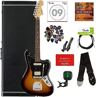 Fender Player Jaguar, Pau Ferro - 3-Color Sunburst Bundle with Hard Case, Cable, Tuner, Strap, Strings, Picks, Capo, Fender Play Online Lessons, and Austin Bazaar Instructional DVD