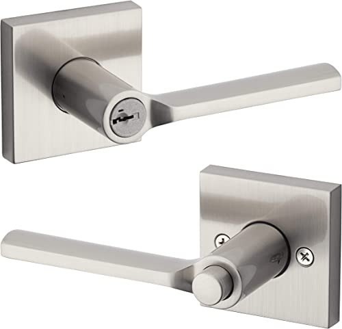 """lowest Kwikset 91560-022 Lisbon Square Keyed Entry Lever Featuring SmartKey sale in lowest Satin Nickel, 4.23"""" Grip Length sale"""