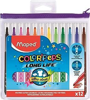 Maped - Feutres Long Life - 12 Feutres de Coloriage Ultra-lavables et Longue Durée - Pointe Moyenne Bloquée - Couleurs Viv...