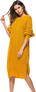 Mingnos Women's Plus Size Crewneck Long Baggy Chunky Knit Pullover Sweater Dress